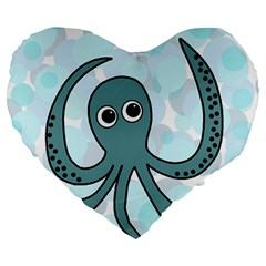 Octopus Large 19  Premium Flano Heart Shape Cushions