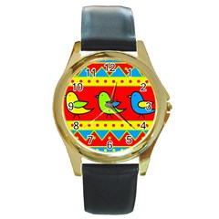 Birds pattern Round Gold Metal Watch