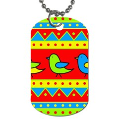Birds pattern Dog Tag (One Side)