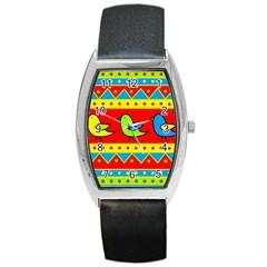 Birds pattern Barrel Style Metal Watch