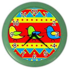 Birds pattern Color Wall Clocks