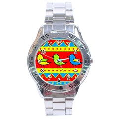 Birds pattern Stainless Steel Analogue Watch
