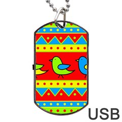 Birds pattern Dog Tag USB Flash (Two Sides)