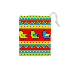 Birds pattern Drawstring Pouches (Small)