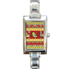 Brown bird pattern Rectangle Italian Charm Watch