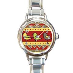 Brown bird pattern Round Italian Charm Watch