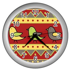 Brown bird pattern Wall Clocks (Silver)