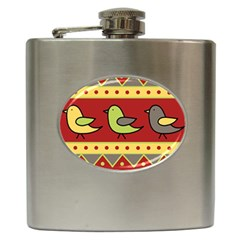 Brown bird pattern Hip Flask (6 oz)