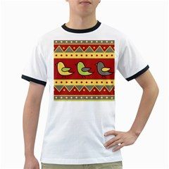 Brown bird pattern Ringer T-Shirts