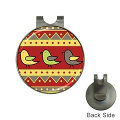 Brown bird pattern Hat Clips with Golf Markers