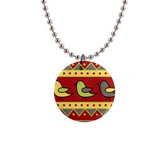 Brown bird pattern Button Necklaces