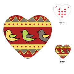 Brown bird pattern Playing Cards (Heart)