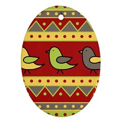 Brown bird pattern Oval Ornament (Two Sides)