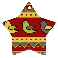 Brown bird pattern Star Ornament (Two Sides)