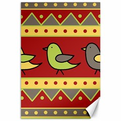 Brown bird pattern Canvas 12  x 18