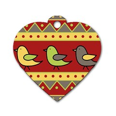 Brown bird pattern Dog Tag Heart (One Side)