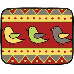 Brown bird pattern Double Sided Fleece Blanket (Mini)