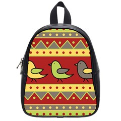 Brown bird pattern School Bags (Small)