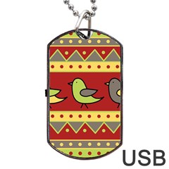 Brown bird pattern Dog Tag USB Flash (Two Sides)