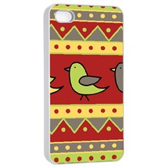 Brown bird pattern Apple iPhone 4/4s Seamless Case (White)