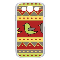 Brown bird pattern Samsung Galaxy S III Case (White)