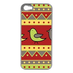 Brown bird pattern Apple iPhone 5 Case (Silver)