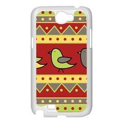 Brown bird pattern Samsung Galaxy Note 2 Case (White)