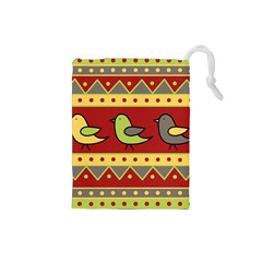 Brown bird pattern Drawstring Pouches (Small)