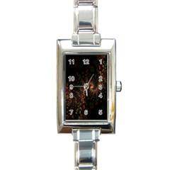 Multicolor Fractals Digital Art Design Rectangle Italian Charm Watch