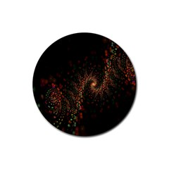 Multicolor Fractals Digital Art Design Rubber Round Coaster (4 pack)