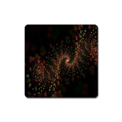 Multicolor Fractals Digital Art Design Square Magnet