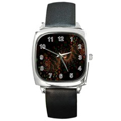 Multicolor Fractals Digital Art Design Square Metal Watch