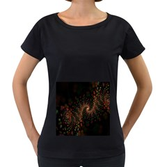 Multicolor Fractals Digital Art Design Women s Loose-Fit T-Shirt (Black)