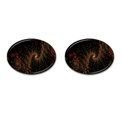 Multicolor Fractals Digital Art Design Cufflinks (Oval)