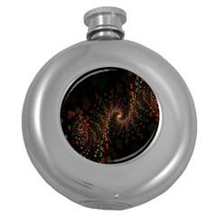Multicolor Fractals Digital Art Design Round Hip Flask (5 oz)