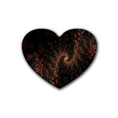 Multicolor Fractals Digital Art Design Rubber Coaster (Heart)