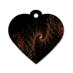 Multicolor Fractals Digital Art Design Dog Tag Heart (Two Sides)