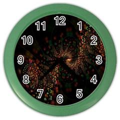 Multicolor Fractals Digital Art Design Color Wall Clocks