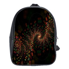 Multicolor Fractals Digital Art Design School Bags(Large)