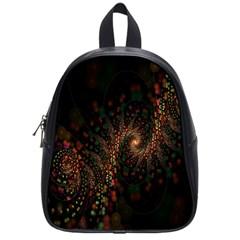 Multicolor Fractals Digital Art Design School Bags (Small)