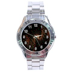 Multicolor Fractals Digital Art Design Stainless Steel Analogue Watch