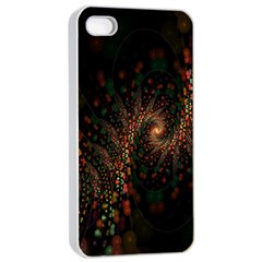 Multicolor Fractals Digital Art Design Apple iPhone 4/4s Seamless Case (White)