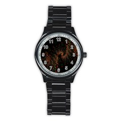 Multicolor Fractals Digital Art Design Stainless Steel Round Watch