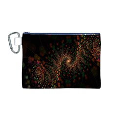 Multicolor Fractals Digital Art Design Canvas Cosmetic Bag (M)