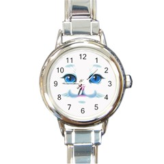 Cute White Cat Blue Eyes Face Round Italian Charm Watch