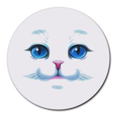 Cute White Cat Blue Eyes Face Round Mousepads