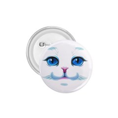 Cute White Cat Blue Eyes Face 1.75  Buttons