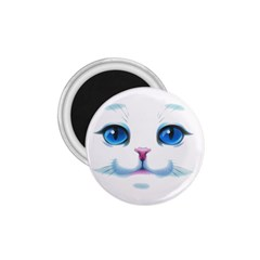 Cute White Cat Blue Eyes Face 1.75  Magnets
