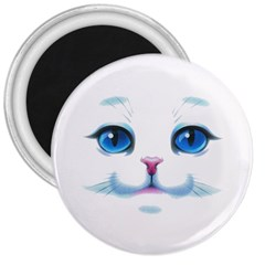 Cute White Cat Blue Eyes Face 3  Magnets