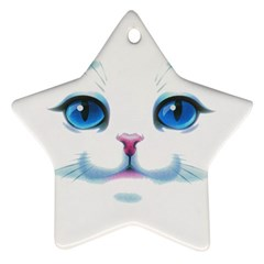 Cute White Cat Blue Eyes Face Ornament (Star)